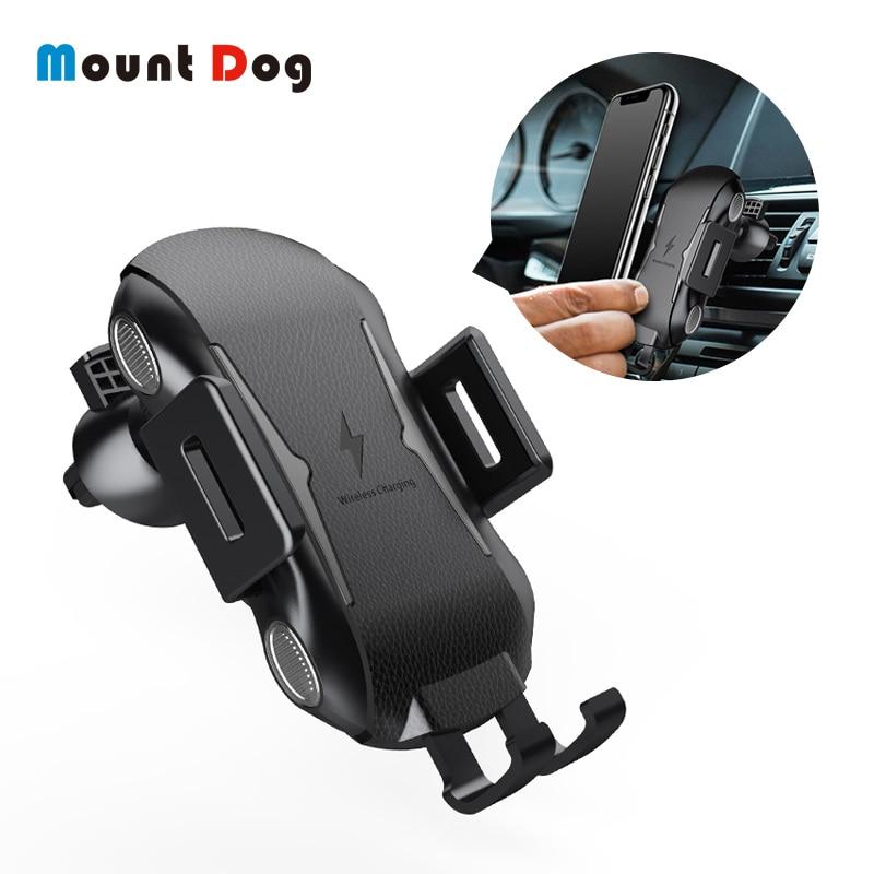 Cargador inalámbrico de coche MountDog para iPhone XS Max XR X Samsung S10 S9, soporte inteligente para teléfono de coche con infrarrojos, carga rápida sin cables