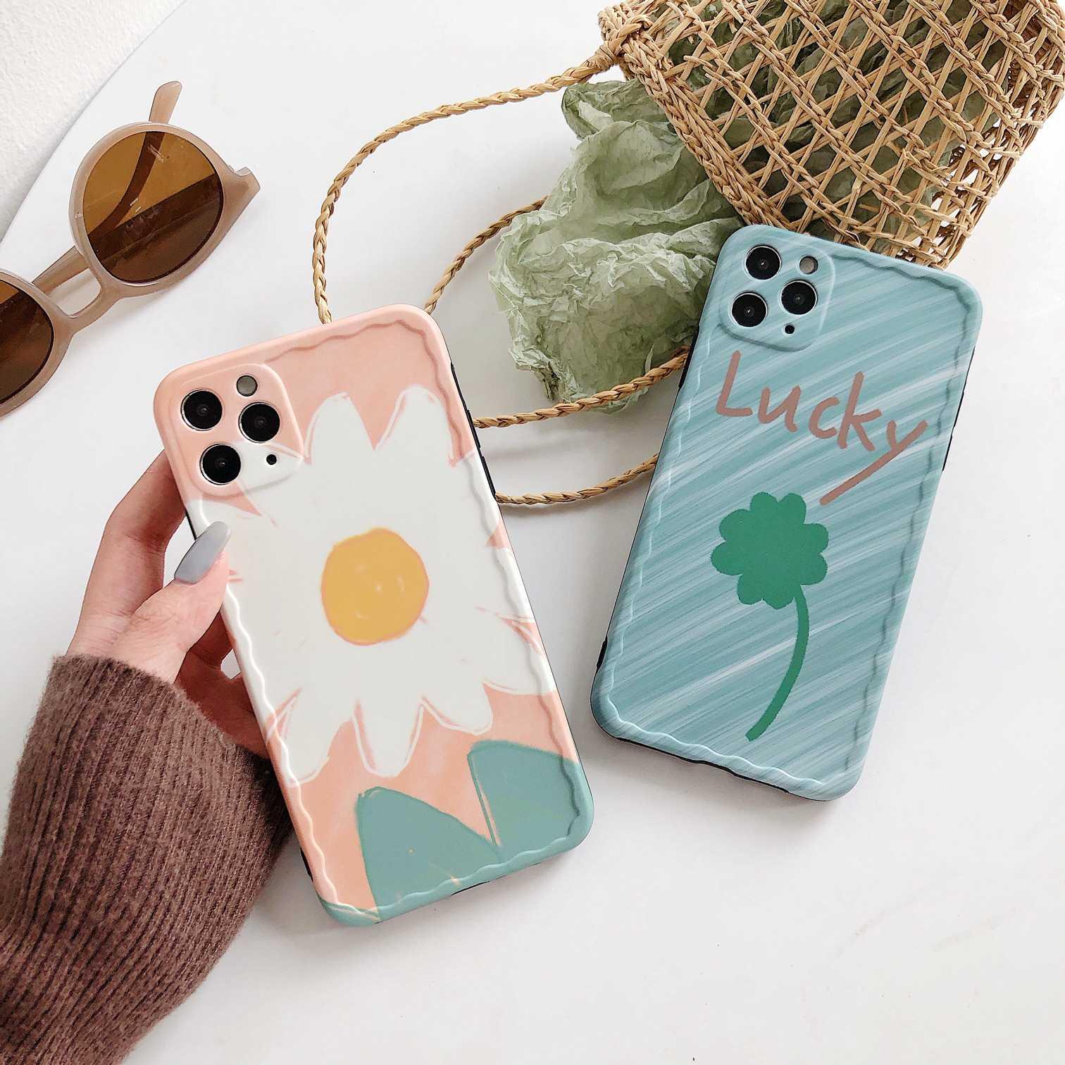 Para iPhone 11 Pro MAX funda de moda lucky Clover Flor de silicona para iPhone XR XS para iPhone 7 Plus 8 Plus funda