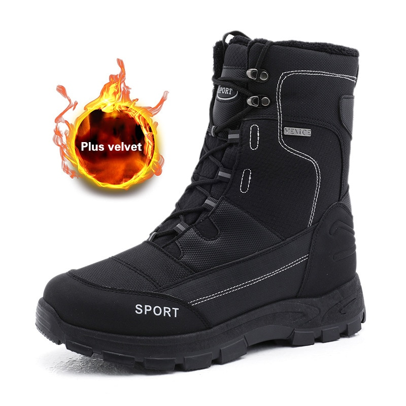 surom brand men s boots big size warm plush male leather shoes work boot warm fur winter casual snow sneakers mens ankle boots Men Snow Boots New Winter Shoes Men Winter Boots Footwear Ankle Boots Warm Fur Men Boots Snow Shoes Black Sneakers Big Size 45