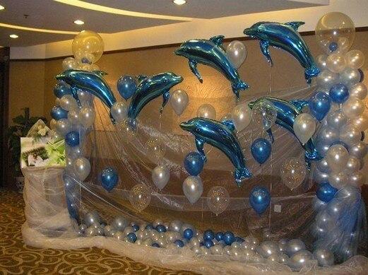 Unset 1 metro de los delfines y de globos de nieve hilo...