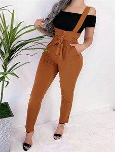 2019 outono moda casual solto macacão feminino geral macacão correias macacão calças compridas cintura alta calças cinto