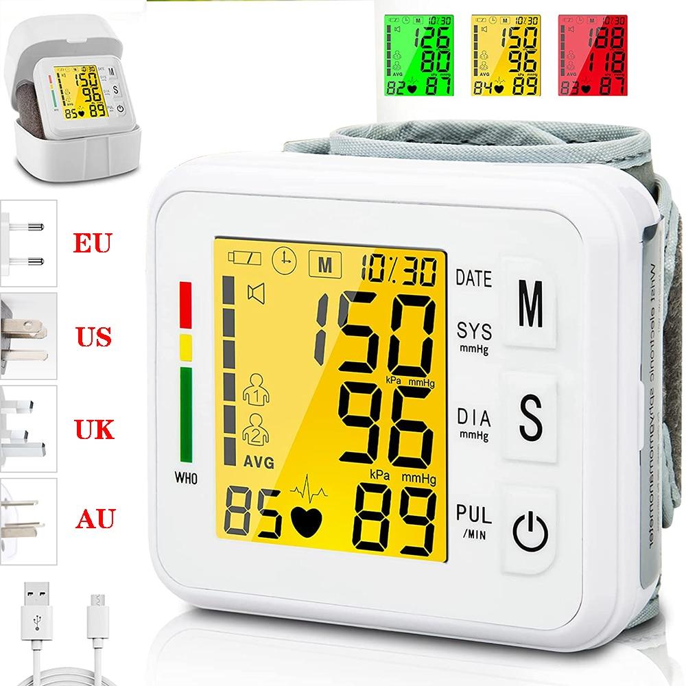 USB صوت مراقبة ضغط الدم قابلة للشحن جهاز قياس ضغط الدم رقمي 99*2 ذاكرة القراءة 3 الخلفية