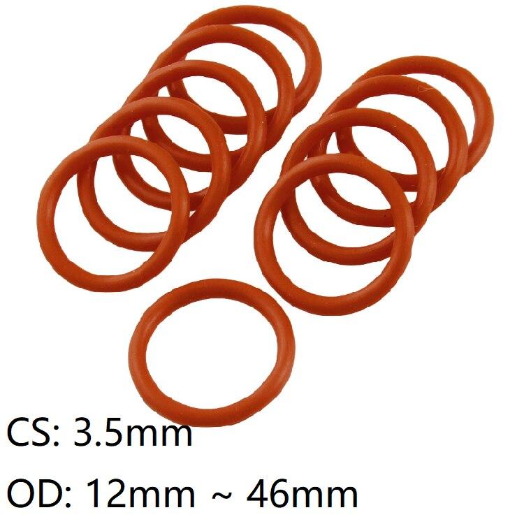 Junta de silicona O anillo de 10 Uds de grosor CS 3,5mm OD 12 ~ 46 mm lavadora a prueba de agua de grado alimenticio sello redondo O de goma aislante rojo