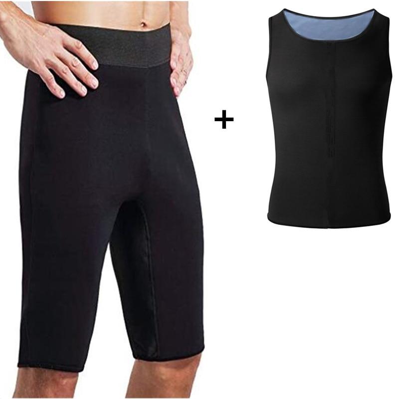 2021 Men Slimming Body Shaper Set Hot Sauna Pants Thermo Sweat Vest Sauna Suits Workout Tank Tops Wa
