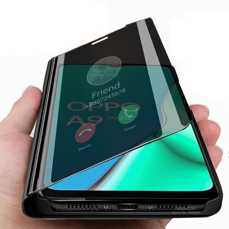 Para oppo a9 2020 caso espelho inteligente flip caso de telefone luxo para oppo a5 2020 a 5 9 a92020 a52020 livro suporte à prova choque capa coque