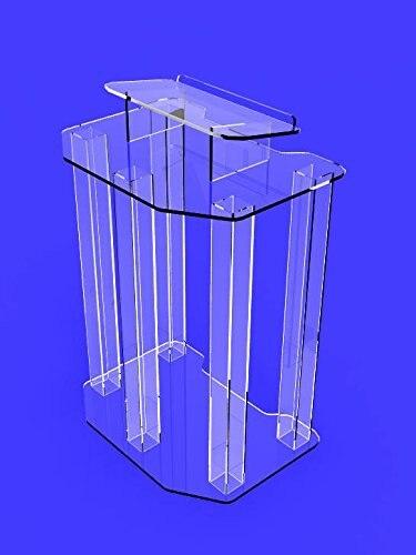 Podio de exhibición de accesorios, púlpito acrílico envolvente de fantasma transparente, atril de plexiglás ensamblado completamente