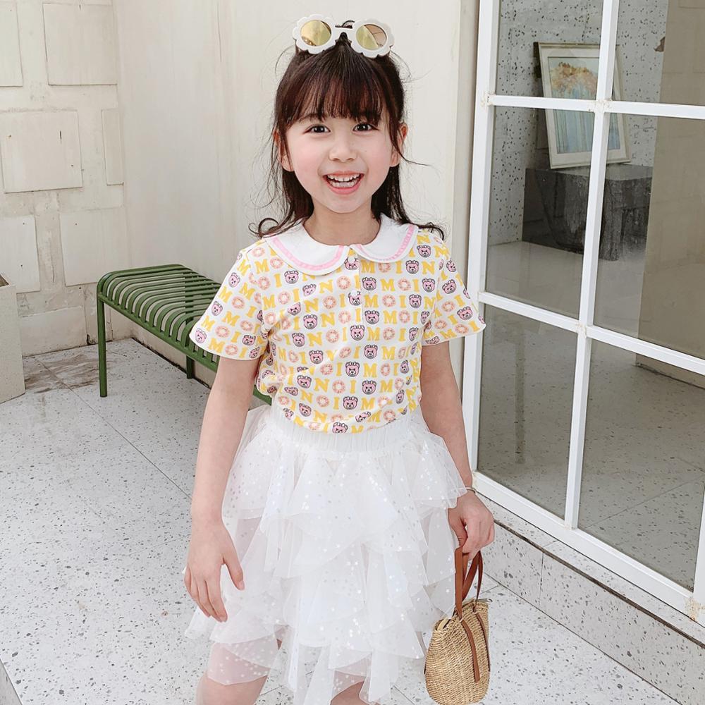 Camisetas de manga corta para niñas, Camisetas estampadas con mangas cortas de verano, camisetas de dibujos animados con bonito patrón de oso, camisetas para niños