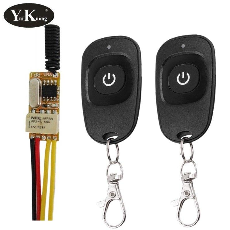 Mini interruptor remoto RF de 5V, 433, 315, 4,2 V, 4,5 V, 5V, 6V, 7,4 V, 9V, 12V, interruptor inalámbrico de contacto con relé pequeño, NO COM, NC, botón de pulsación para puerta