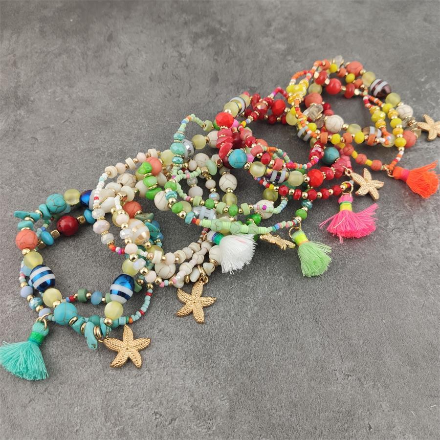 Bohemian Ethnischen Multilayer Vintage Neue Perlen Armbänder Boho Erklärung Quaste Seestern Charme Wrap Armband Armreifen
