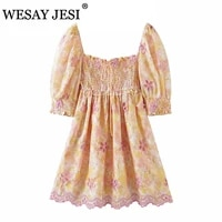 wesay jesi women clothing chic dress traf za new floral embroidery print dress sexy waist hollow out female summer short press