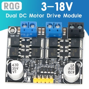 10A dual DC motor drive module forward and reverse PWM speed regulation dimming 3-18v low voltage high current