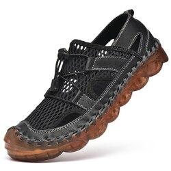 Upstream sapatos homens verão rastreamento sandálias de água antiderrapante pesca escalada tênis de malha de couro ao ar livre sapatos esportivos masculino