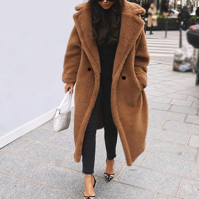 2019 invierno mujer abrigo de piel de lujo largo de piel sintética abrigo de solapa suelta abrigo grueso cálido de talla grande Teddy abrigo femenino de felpa prendas de vestir