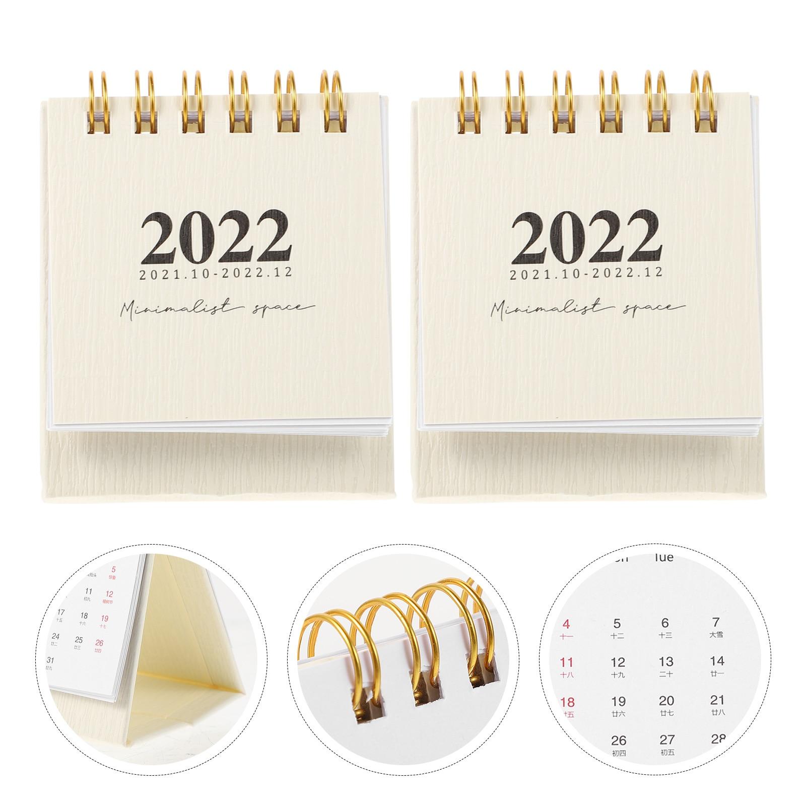 Простые настольные мини-календари, декоративные украшения, маленькие календари для дома и офиса, 2 шт.