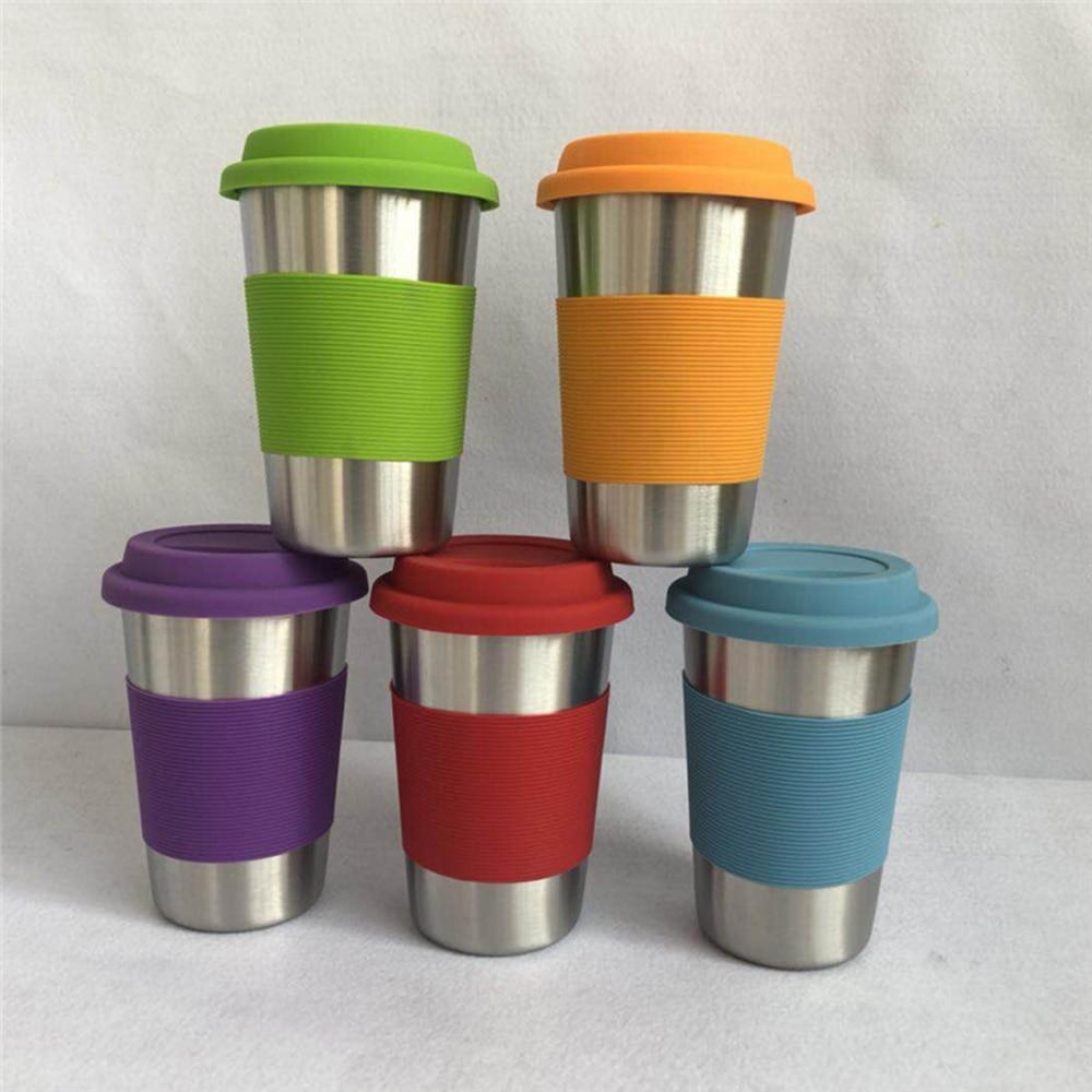 Nuevas tazas de café de acero inoxidable con tapas de silicona mangas antiquemaduras caja vasos de beber agua cerveza té tazas de café
