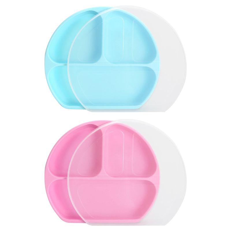 Plato de bebé de silicona w/potente Base de succión se mantiene dividido secciones plato de bebé nuevo