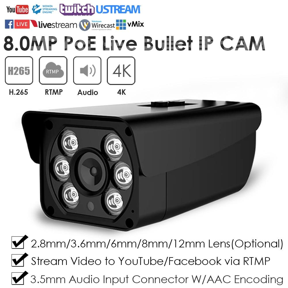 8.0MP IR PoE gran angular Bullet Streaming en vivo cámara IP para transmisión de Video en vivo a YouTube Facebook Vimeo por RTMP W/Audio