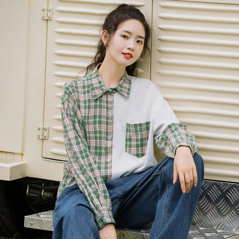 Chic Khaki 2020 New Spring and Autumn Loose Asymmetry Spliced Plaid Blouse Schoolgirl Long Sleeve Bo