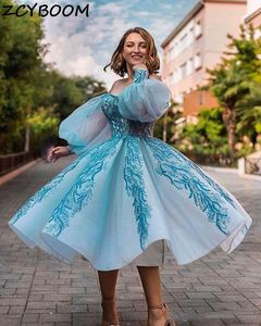 2021 Light Blue Prom Dresses Women Formal Party Night Off The Shoulder Appliques Lace Vestido De Gala Long Sleeves Evening Gowns
