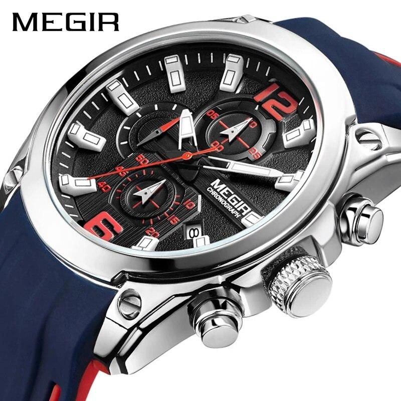 MEGIR مشاهدة العلامة التجارية الأعلى رجالي الساعات مع كرونوغراف مقاوم للماء سيليكون ساعة يد رياضية الرجال ساعة التناظرية الكوارتز Relogio 2063