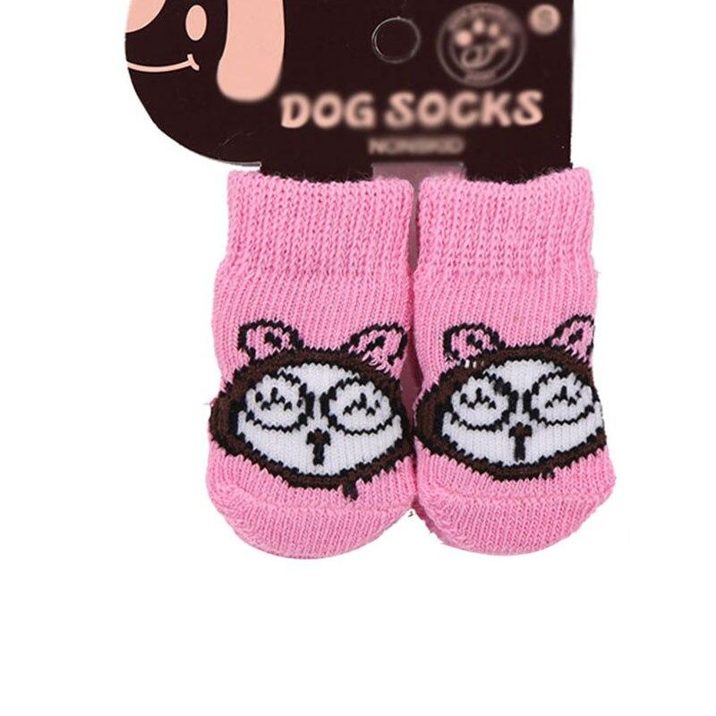 Nowy 4 sztuk/zestaw Dog Cat skarpetki do butów kryty miękka bawełna ciepłe przeciwpoślizgowe śliczny nadruk łapy łatwe mycie Pet dla małych psów skarpetki
