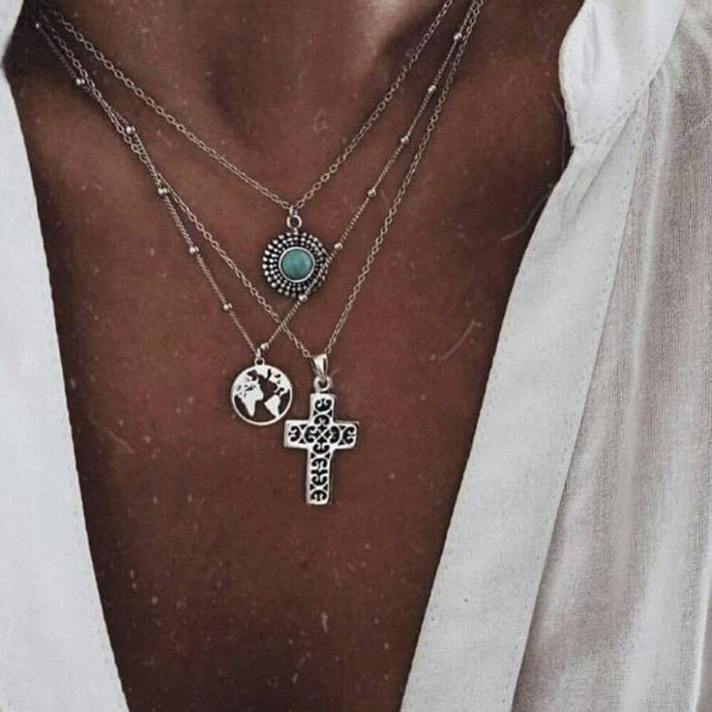 Schichten Silber Farbe Erde Kreuz Anhänger Choker Halskette Schmuck Mode Einstellbare Neck Kragen für Frauen Erklärung Halskette