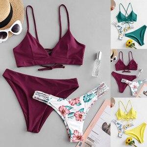 платье купальник женский 2021 bikinis set Women's Bikini Print Set Swimsuit Three Piece Filled  Bra Swimwear Beachwear FFT