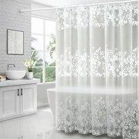 Rideau de douche impermeable avec crochets  pour salle de bains  imprime de fleurs blanches  anti-moisissure  translucide  decor decran de bain
