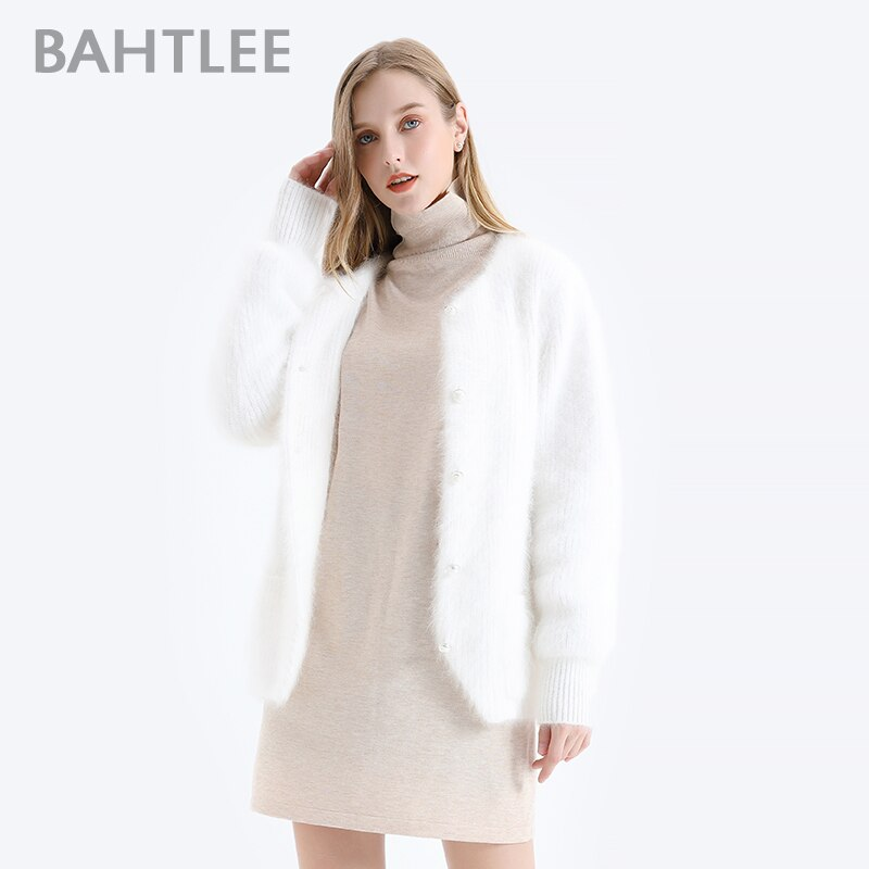 BAHTLEE Autumn Winter Women Angora Short Cardigans Sweater Wool Knitted Coat Jumper Long Sleeves O-Neck Pearl buckle enlarge