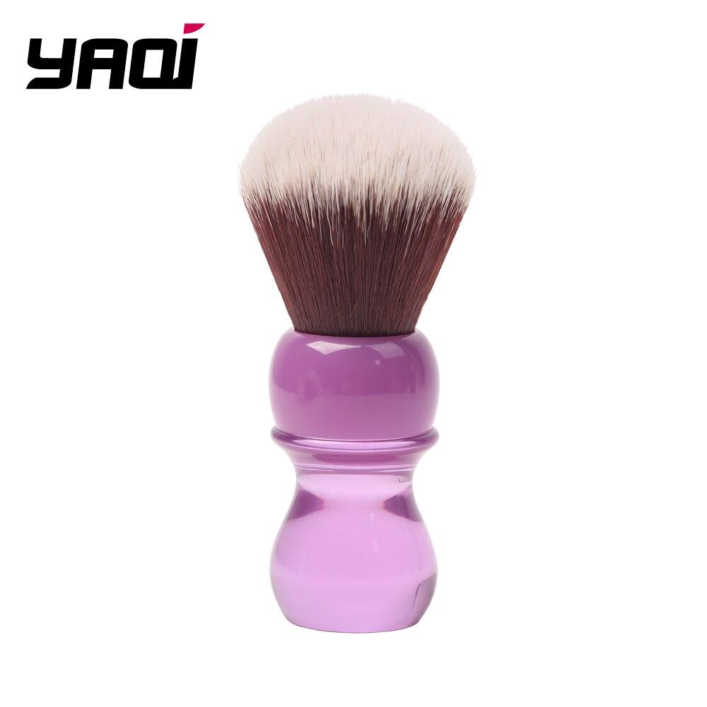 Yaqi 24mm mango púrpura visón pelo sintético nudo mojado cepillo de afeitar