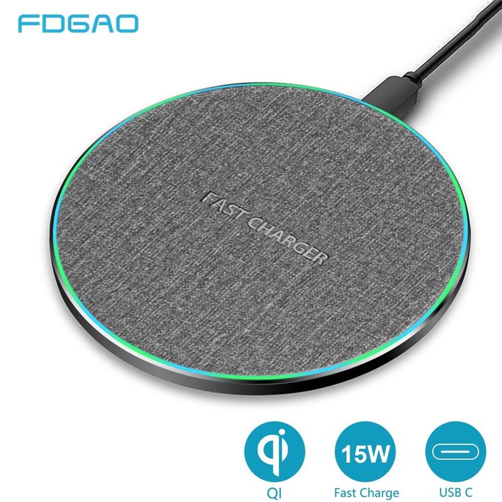 Fdgao 15 w rápido qi carregador sem fio para iphone 11 xs max/xr/x/8 huawei mate30 pro/samsung s9 s10 s20 rápido carregador sem fio almofada