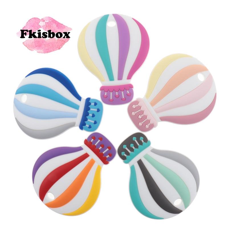 Fkisbox 10PCS Hot Air Balloon Silicone Baby Teether BPA Free Newborn Teething Pendant For Pacifier Chain Nursing Accessories