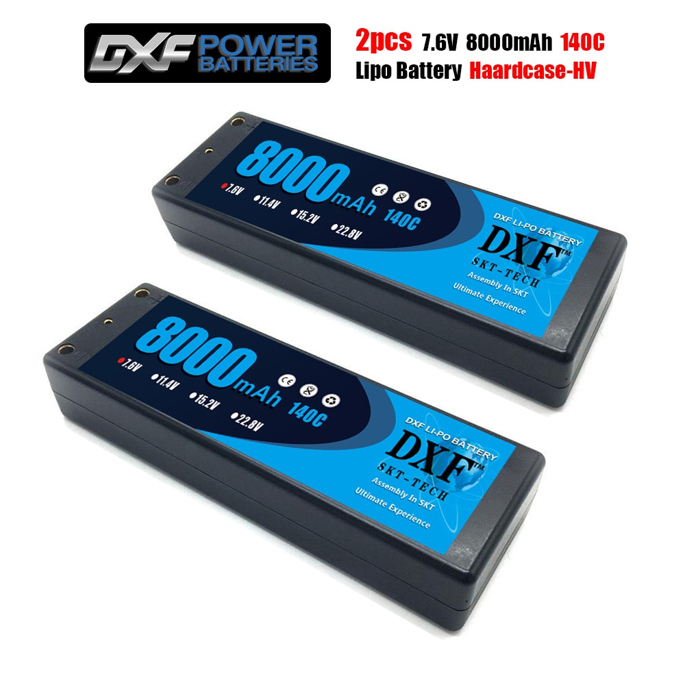 DXF 2PCS Lipo 2S battery 7.6V 8400 140C 8000mah 140C/7.4V 8400mah 120C 7300mah 130C/ 4200mah 20C  4mm Hardcase For Slash 4X4 Car enlarge