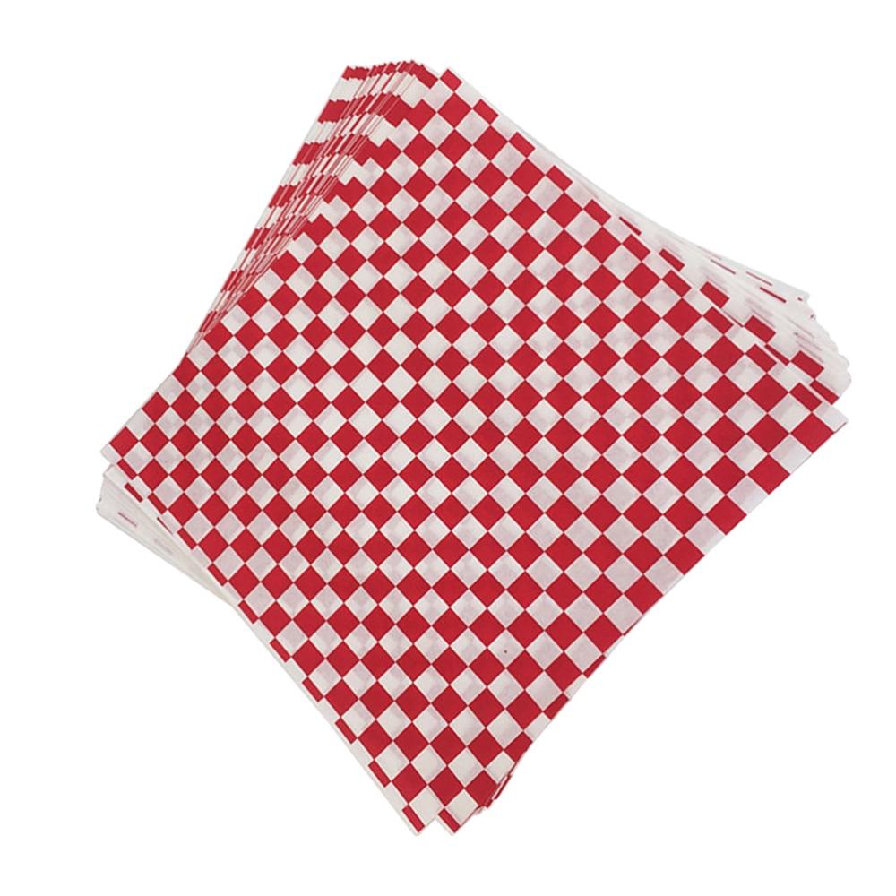 ورق تغليف الطعام ، مربعات أحمر ، يمكن التخلص منه ، البطاطس المقلية ، ورق مقاوم للزيت ، 30x ، 100 قطعة