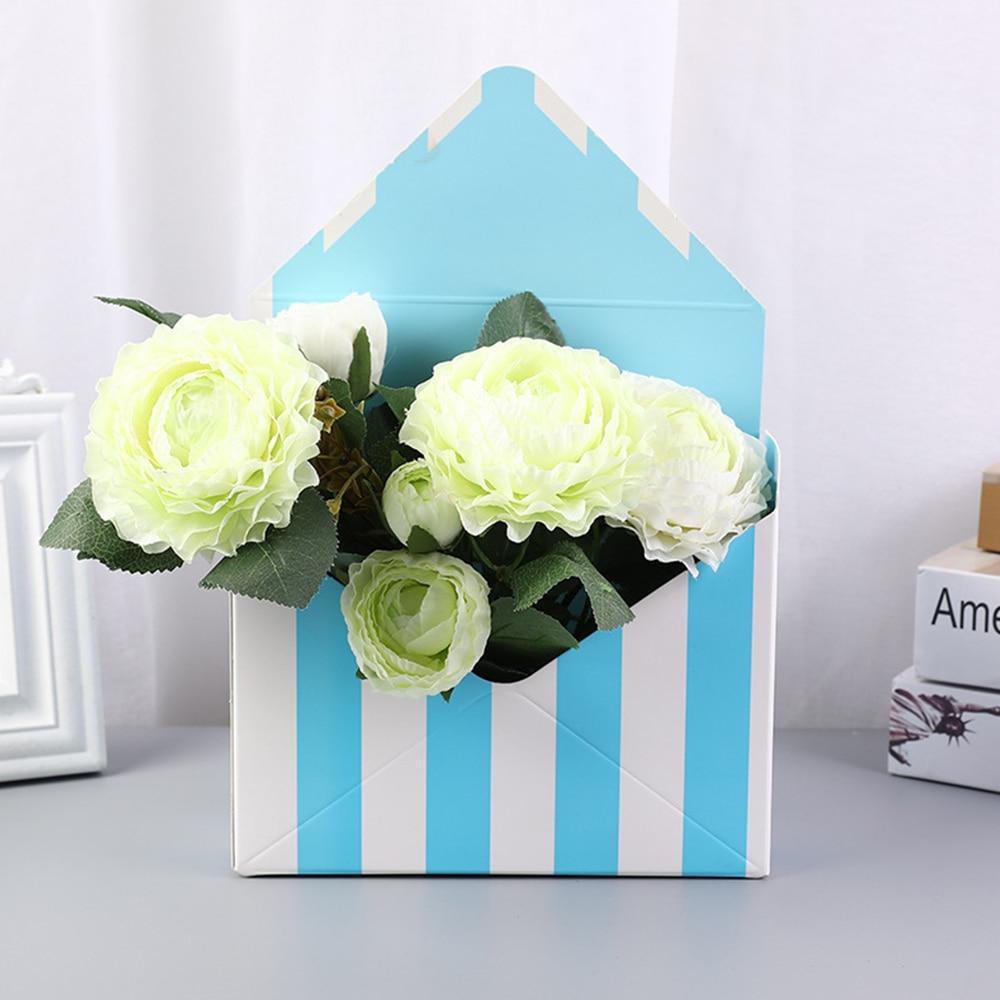Fold Flower Box Creative Romantic Envelope Paper Florist Bouquet Packing Storage Box for Wedding Engagement Party Decor