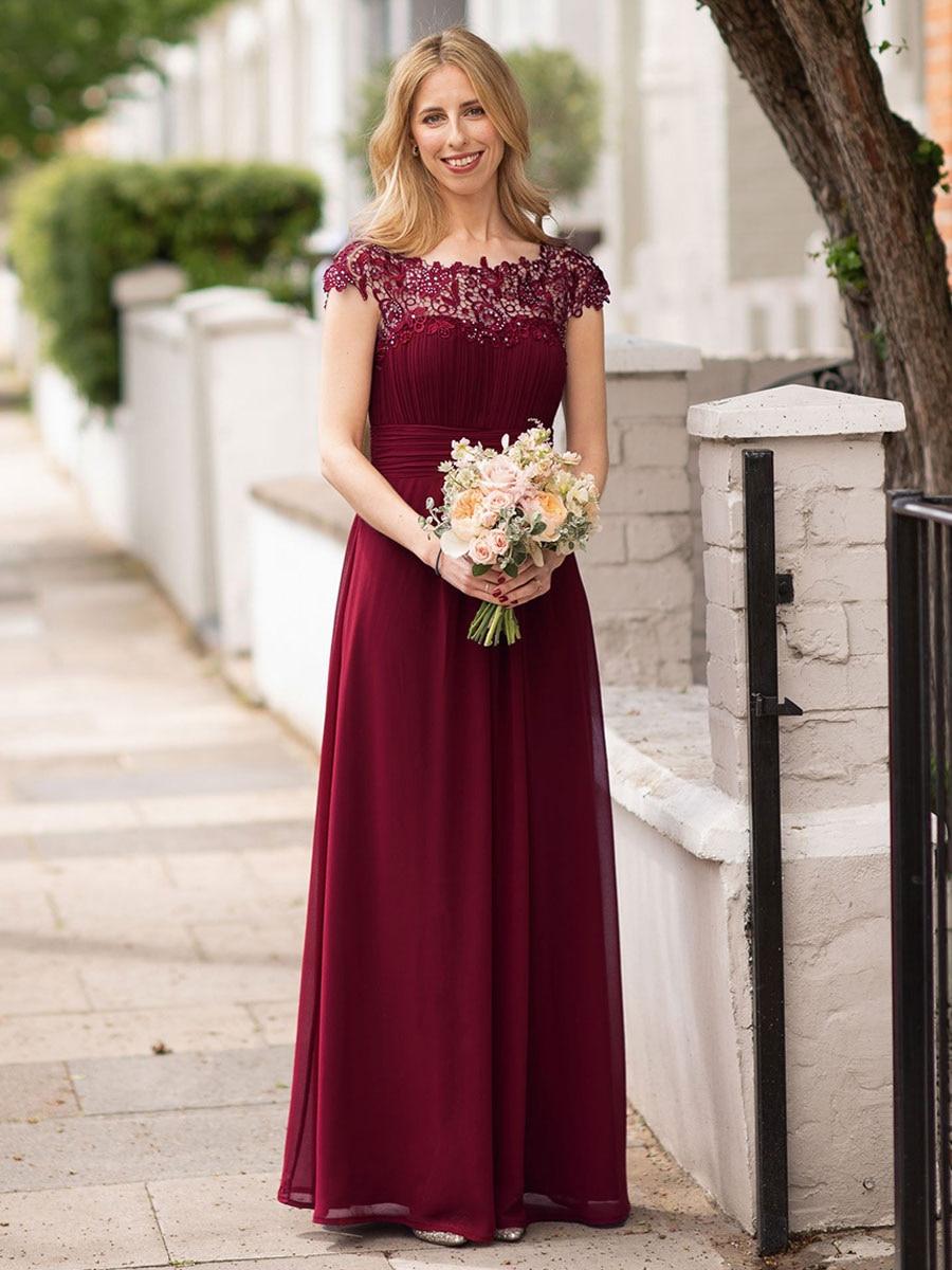 فساتين لوصيفات العروس رخيصة الحجم باللون العنابي تحت 50 ألف خط من الدانتيل المطرز بالخرز فساتين حفلات الزفاف الطويلة للنساء