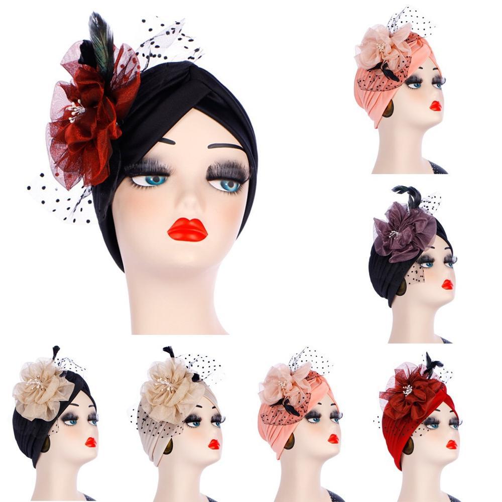 Turban cheveux accessoires écharpe musulmane femmes extensible grande fleur tête chapeau dames perte de cheveux africain Turban casquette