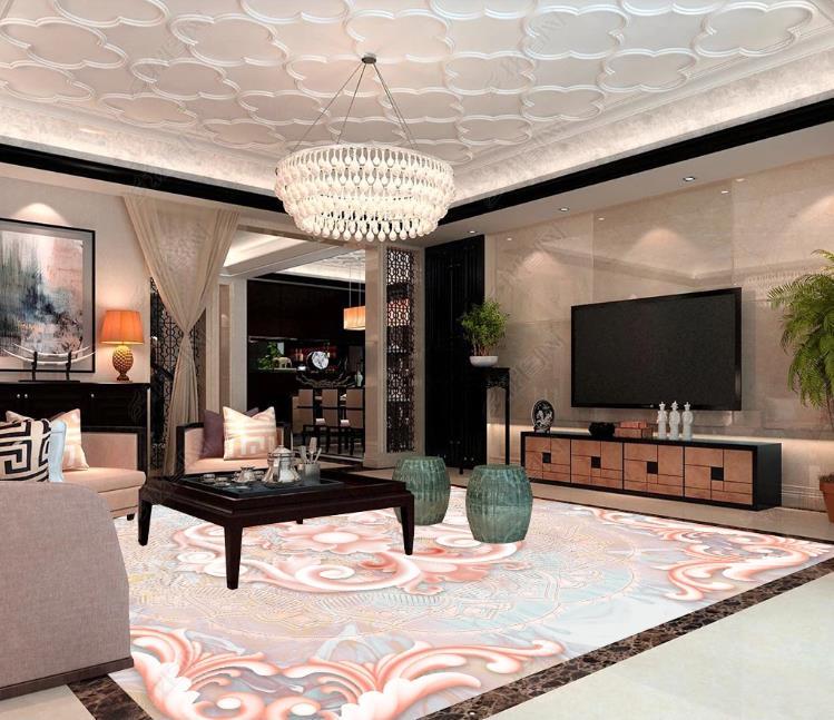 Papel pintado de suelo Mural 3D personalizado patrón rico jade relieve PVC desgaste impermeable para sala de estar cocina piso 3D papel de pared