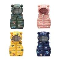 2021 autumn children warm down vest baby thicken waistcoat kids outerwear winter vest clothing boys girls hooded jackets vest