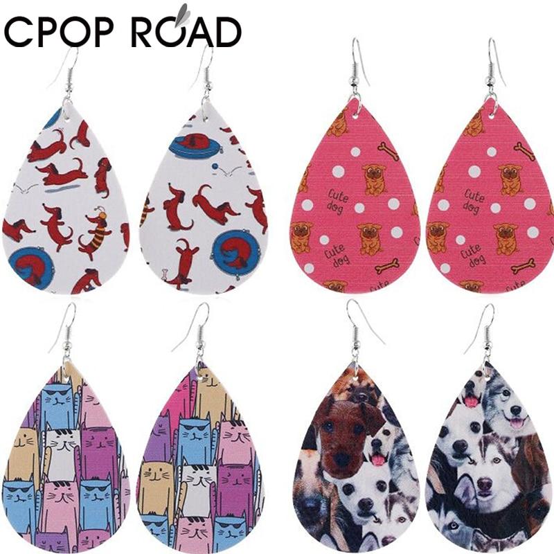 Cpop nuevo patrón de impresión de cuero de imitación pendientes para las mujeres creativo colgante gota pendientes joyería Mujer Accesorios gran oferta regalo