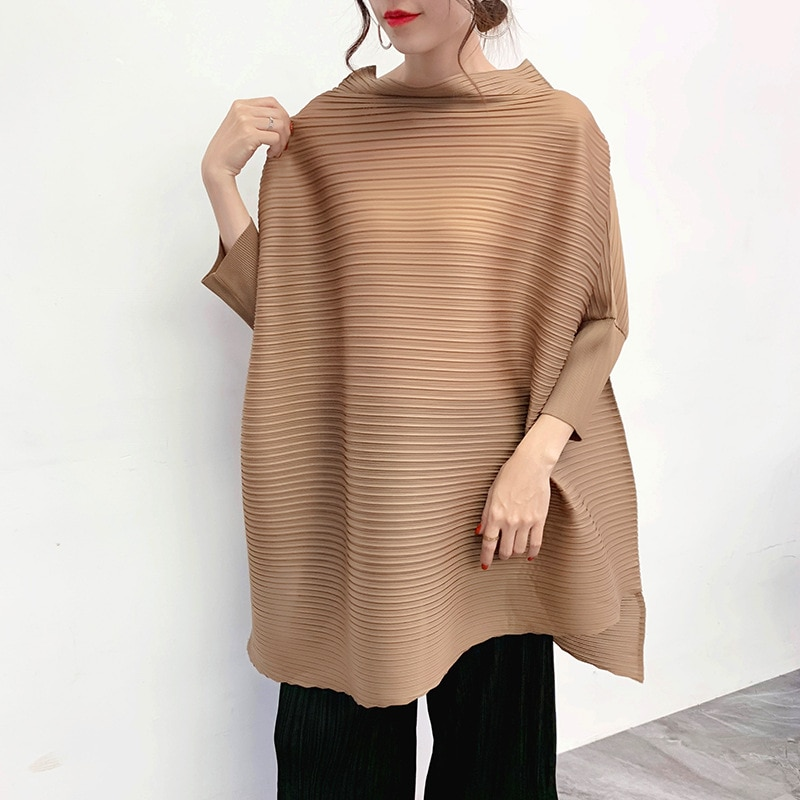 Camisa de manga larga para mujer, sólido cuello redondo, Issey, plisado, camisetas casuales sueltas, diseño Original 2019, nueva camiseta de moda de otoño, de talla grande