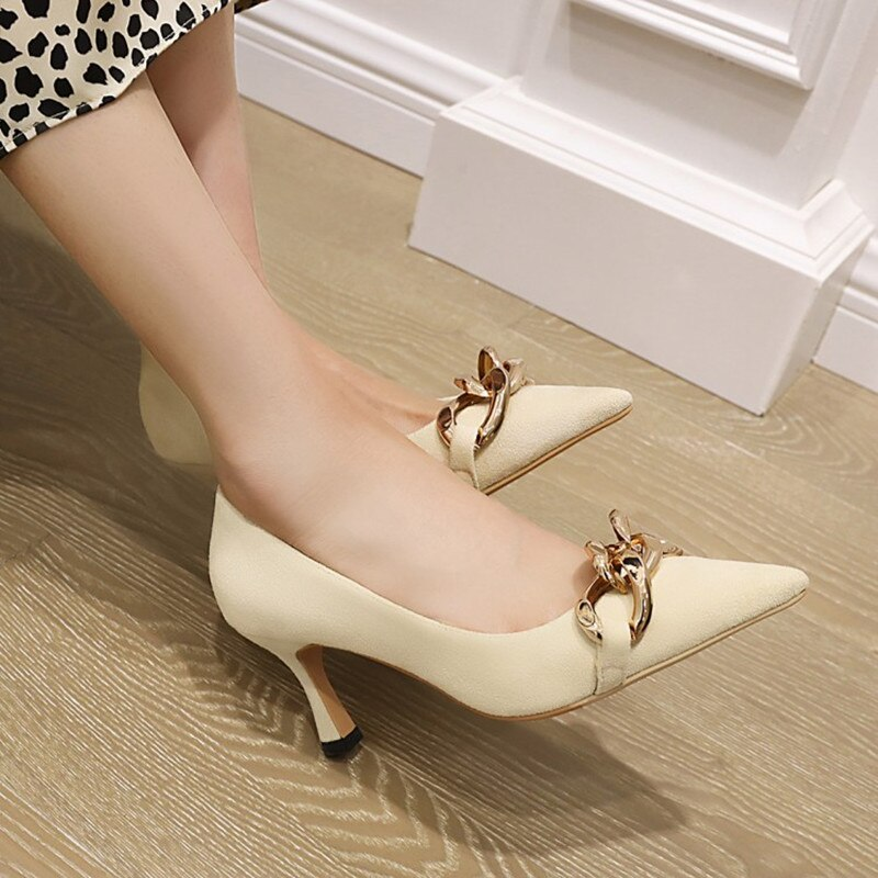 Ochanmeb stiletto de grandes dimensões de salto alto bombas de couro de camurça do falso sapatos femininos plus size 48 14 preto nu chique grande corrente de ouro sapato