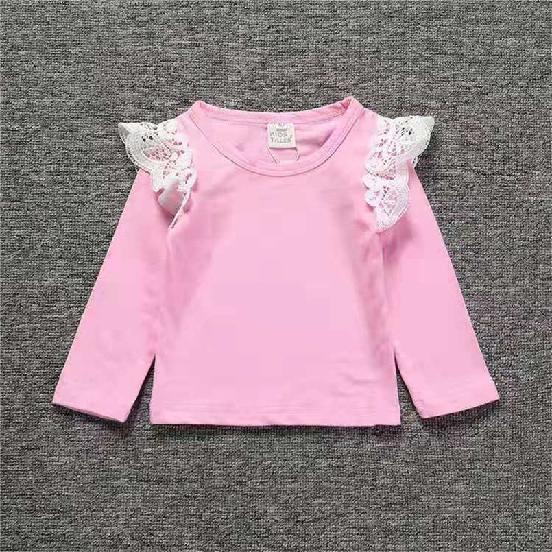Camisetas de rayas para bebé niña de 0 a 3 años, camiseta para recién nacido, infantes, niños pequeños, con ondas de encaje, camiseta de manga larga de algodón, prendas de cuello redondo