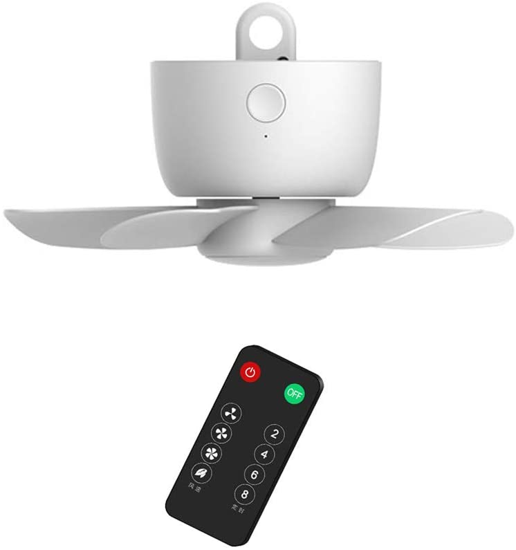 USB Rechargeable Remote Control Timing 4 Gears Ceiling Fan with Hanging Hook for Tent, 8000mAh White Camping Fan