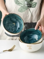 starry sky gold rim handmade ceramic salad bowl porcelain kitchen soup rice instant noodles bowl dinnerware set home tableware