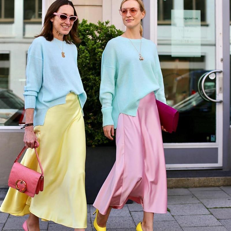 Vintage Satin Slik faldas mujer alta cintura Slim lápiz faldas Irregular Patchwork Falda larga mujer moda 2019