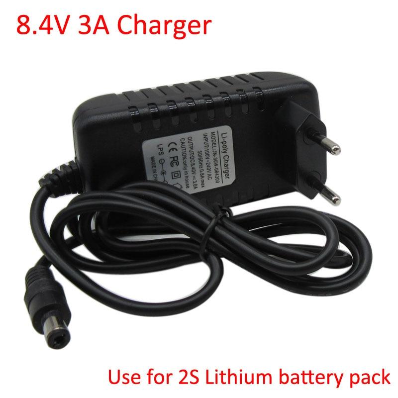 Cargador inteligente 8,4 V 3A para 7,4 V 7,2 V 2S Lithium li-po batería faro delantero T6/P7 LED bicicleta faro envío gratis