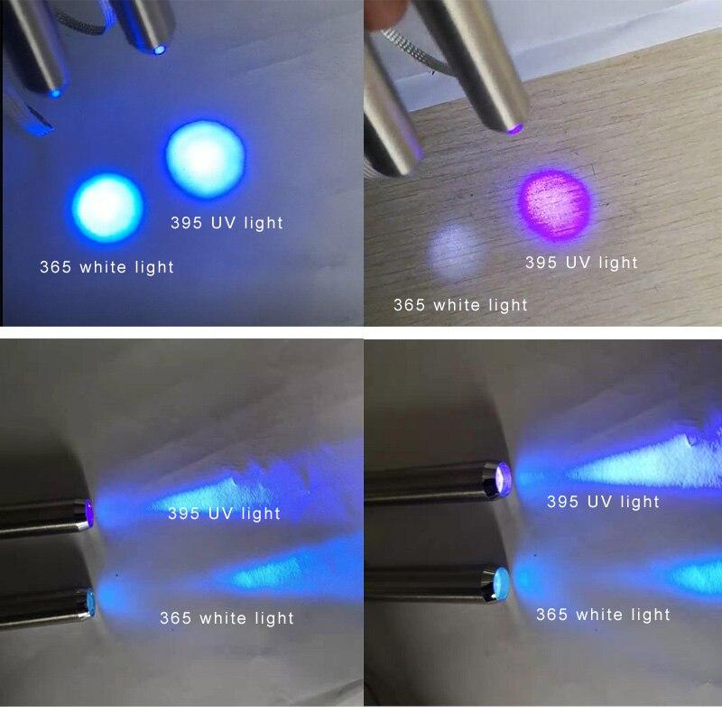 Stainless Steel Mini Pocket Lamp Led 365/395 UV Flashlight Torch Ultra Violet Light  AA Battery for Marker Checker Detection enlarge