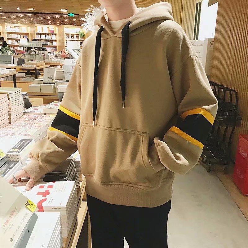 Свитшот с капюшоном мужской, утепленный пуловер в Корейском стиле, однотонный Свободный свитшот, уличная одежда в стиле SweatHarajuku, с капюшоном...