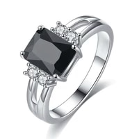 2021 simple classic black cubic square zirconia crystal ring for women party wedding rings jewelry accessories size 5 11